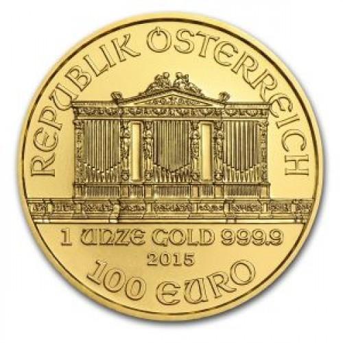 Инвестиционная монета из золота 31,1г филармония номиналом 100 евро