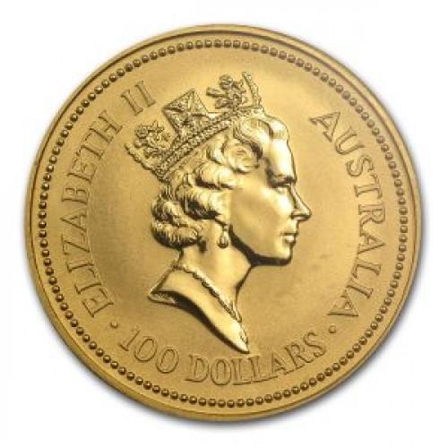 Инвестиционная золотая монета Австралии номиналом 100 австралийских долларов. Выгравирован портрет королевы Елизаветы 2